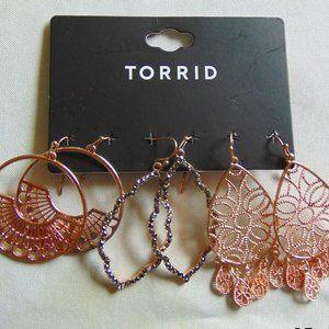 Rose Gold Trio Earrings